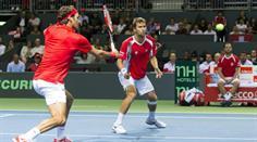 Roger Federer (l.) und Marco Chiudinelli spielten erstmals im Davis Cup zusammen.