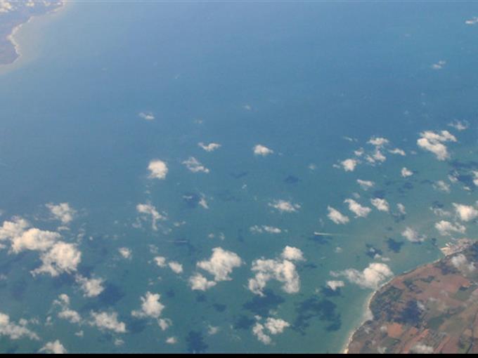 Luftbild vom Ärmelkanal (Calais - Dover)