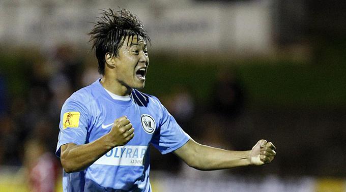 Wils Jong Hyok Cha jubelt nach dem Tor zum 2:3.